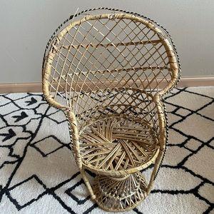 Boho Chic Mini Wicker Peacock Chair Plant Stand